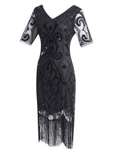 Load image into Gallery viewer, 1920S Fringed Sequin Gatsby Dress