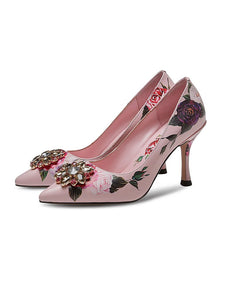 Rose Print Rhinestone Stiletto Heel Vinatge Shoes