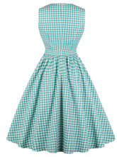 Load image into Gallery viewer, Printed V Neck Green Plaid Vintage Dress