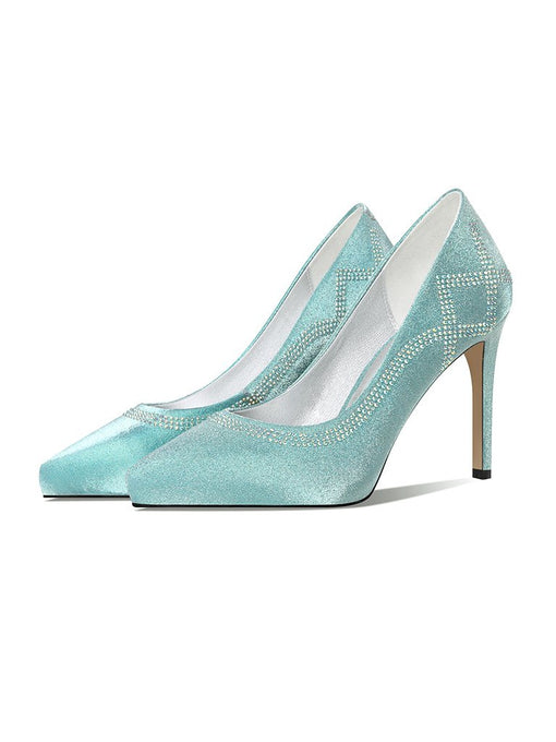 Glitter 9.5CM High Heel Platform Pointed Toe Leather Shoes