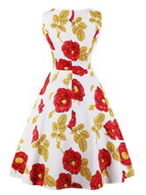 Load image into Gallery viewer, Orange 1950s Print Swing Dress