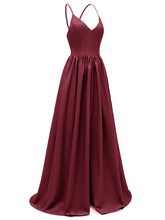 Load image into Gallery viewer, Sling Solid Color A line Satin Vintage Party Maxi Dress