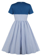 Load image into Gallery viewer, Blue Plaid Short Sleeve 50s Pockets Dress