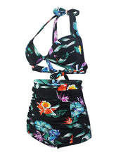 Load image into Gallery viewer,  Black Floral 3D Print Halter Retro Style Bikinis swimsuits