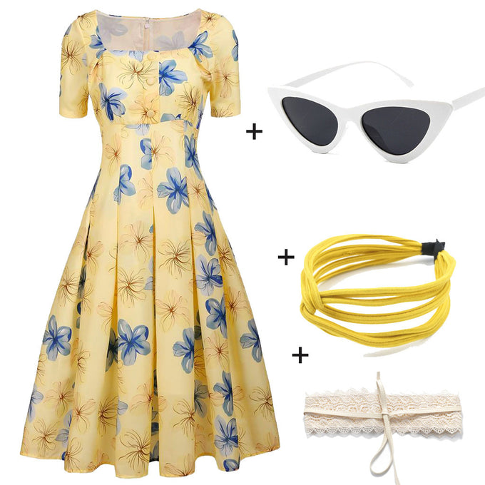 The Marvelous Mrs.Maisel Same Style Yellow Floral Swing 50S Dress with Glass