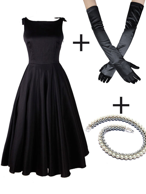 The Marvelous Mrs.Maisel Same Style Little Black Dress Set With Necklace And GLoves