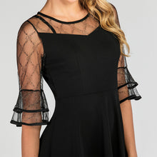 Load image into Gallery viewer, Black 1950s Crew Neck Lace  A Line Vintage Dress