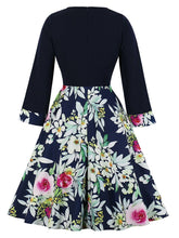 Load image into Gallery viewer, Black Floral Long Sleeve V Neck 50s Dress