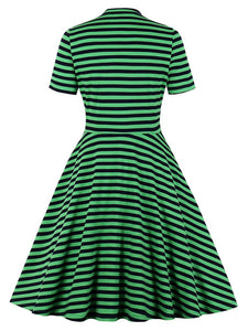 Bow Collar Green Stripe 1950S Vintage Swing Dress