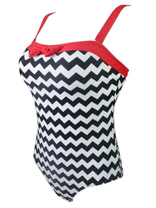Zigzag Graphics 3D Print Strap Backless Retro Style One Piece Swimwear