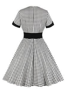 Queen Collar Plaid 1950s Vintage Dress