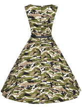 Load image into Gallery viewer, Camouflage Army Style 50s Flapper Dress