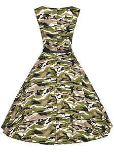 Camouflage Army Style 50s Flapper Dress