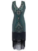 Load image into Gallery viewer, 5 Color 1920S Sequined Fringe Peacock Flapper Dress