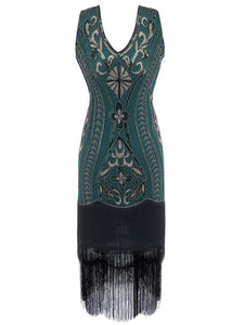 5 Color 1920S Sequined Fringe Peacock Flapper Dress
