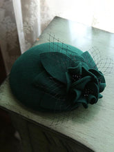 Load image into Gallery viewer, Flower Tulle Net 100%Wool 1950S Hat Vintage Hat