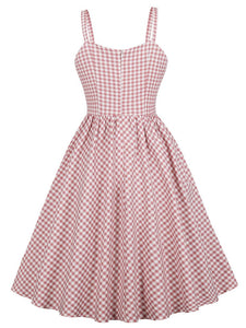 With Pocket Spaghetti Strap Plaid 50S Pink Dress