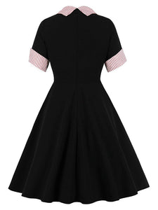 Black 1950S Stripe Turn Down Collar Vintage Swing Dress