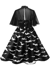 Load image into Gallery viewer,   Plus Size Spaghetti Strip Halloween Vintage Dress With Cape
