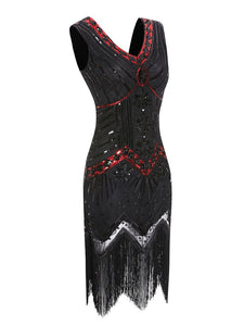 Red 1920s Sequined Flapper Dress