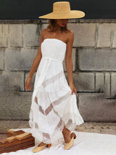 Load image into Gallery viewer, Women's White Strapless Irregular Printed Dress
