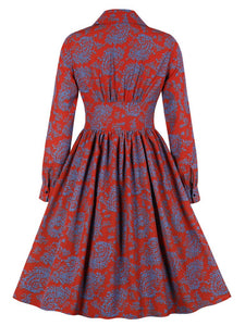 Red Floral Long Sleeve 50s Dress