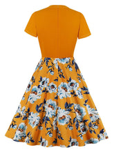 Load image into Gallery viewer, Orange Short Sleeve Floral 50s Dress