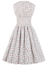 Load image into Gallery viewer, Floral V Neck Sleeveless 50s Dress