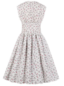 Floral V Neck Sleeveless 50s Dress