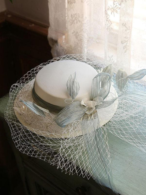 Flower Embroidery Bow Rhinestone Tulle Decoration 1950S Hat