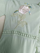 Load image into Gallery viewer, Light Green Bow Collar Vintage Embroidery Maxi Dress