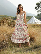 Load image into Gallery viewer, Boho Dress Spaghetti Strap Floral Printed Ruffles Maxi Dress For Women