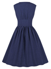 Load image into Gallery viewer, The Waist Small Polka Dot V Neck 50s Dress