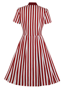 Red Stripe With Pockets 50S Dress