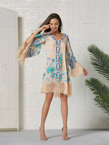 Women's Boho Dress Fringe Floral Printed Midi Length Dress