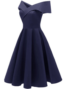 Navy 1950s Off Shoulder Swing Dress