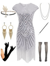 Load image into Gallery viewer, 1920s Gatsby Sequined Fringed Flapper Dress Set
