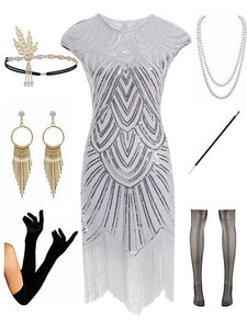 1920s Gatsby Sequined Fringed Flapper Dress Set