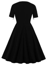 Load image into Gallery viewer, Black Short Sleeve V Neck 50s Dress