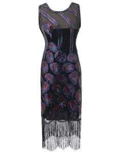4 Color 1920S Sequined Fringe Peacock Flapper Dress