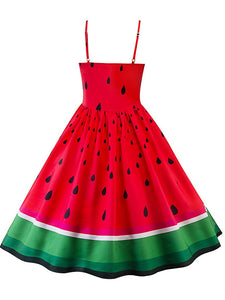 Sweet Watermelon Design Spaghetti Vintage Dress