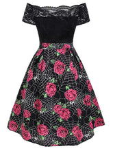 Load image into Gallery viewer, Black Halloween Dress Rose and Spider web Printed Off the Shoulder Dress