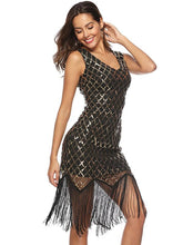 Load image into Gallery viewer, Sequin Mesh Fringer Bobycon Evening Dress