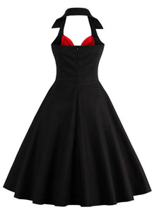 Black Halter Off Shoulder Retro Dress
