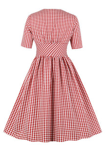 Red Plaid V Neck 1950S Vintage Dresses