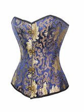 Load image into Gallery viewer, Women Blue Gold Corset 2019 Top Strapless Waist Trainer