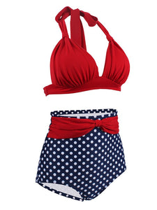 Concise Sexy Backless Retro Style Solid Red Two Pieces Bikini Sets