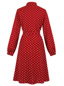 Shirt Collar Long Sleeve Polka Dot Red 50S Dress