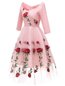 Solid Color Rose Embroidered Sweetheart A line Vintage Dress