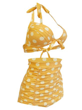 Load image into Gallery viewer, Retro Style High Waisted Elegant Backless Dots Two Pieces Swimsuit Sets
